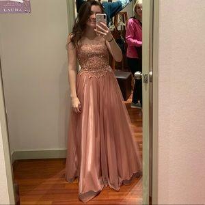 Pink Flowy Prom Dress